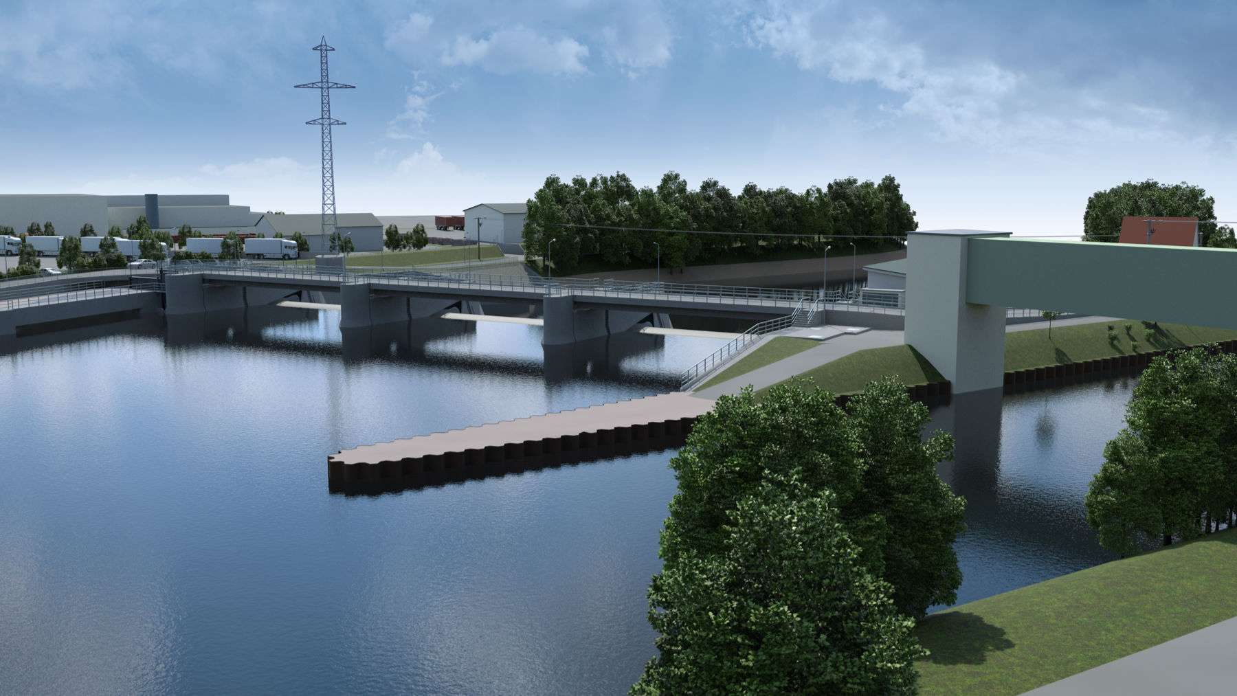 Ersatzneubau Wehr Beihingen: Neue Brücke mit Wehranlage